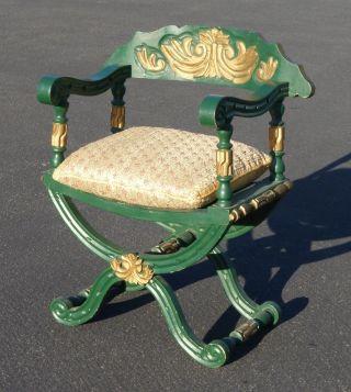 Vtg Hollywood Regency Savonarola Arm Chair Green Gold Silk Down Beaded Cushion photo