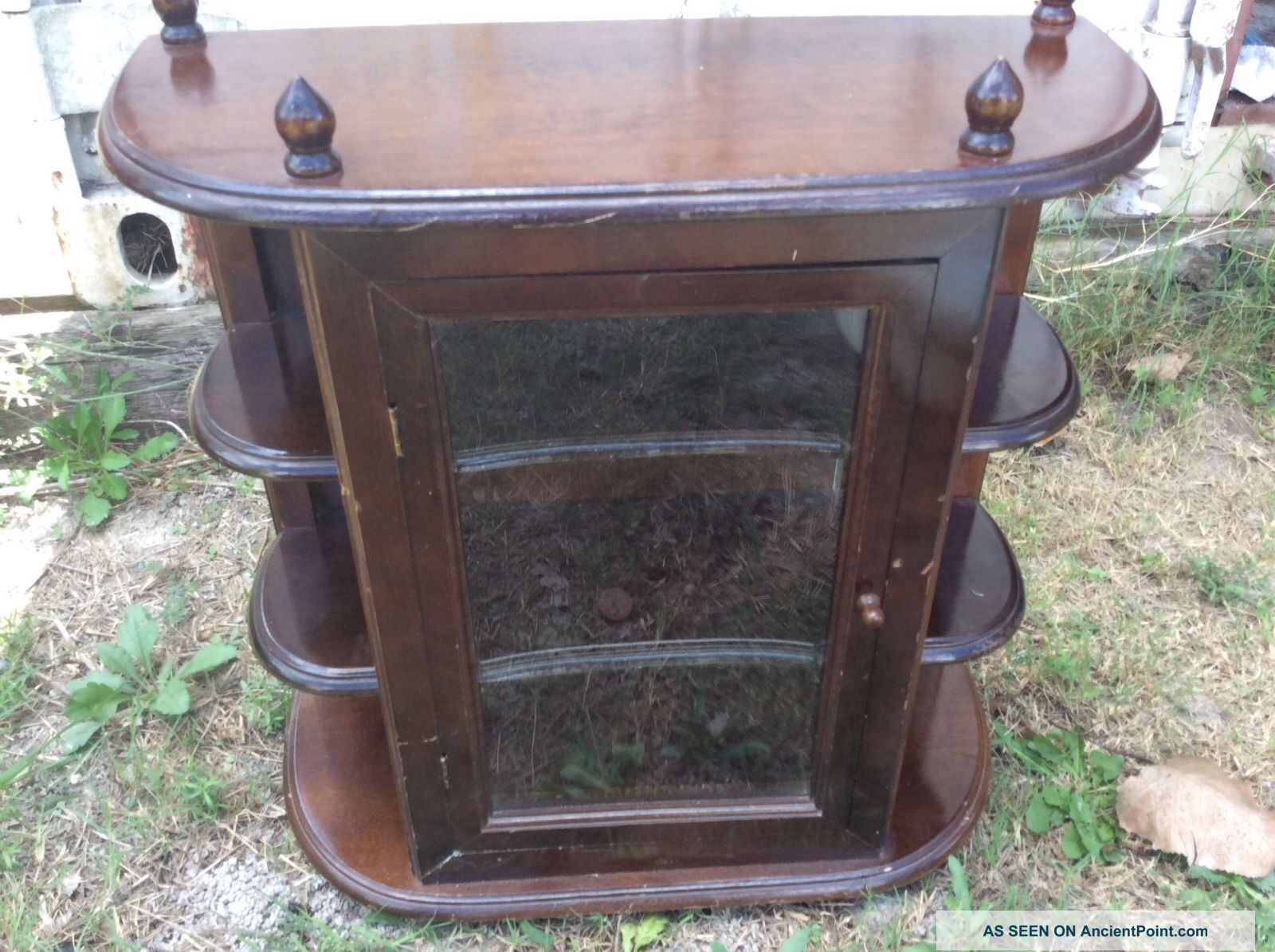 Curio Cabinet Shelf Glass Door Vtg Wall Table Desk Top Hanging Wood Display Post-1950 photo