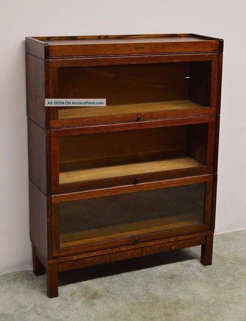 Lundstrom Antique Quartersawn Oak Stacking Barrister Bookcase 1900-1950 photo