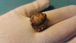 Old Roman Mosaic Glass Solid Gold Ring 9.  79 Grams photo