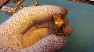 Rare Ancient Gold Gilded Silver Ring With Glass Insert 100 - 400ad photo