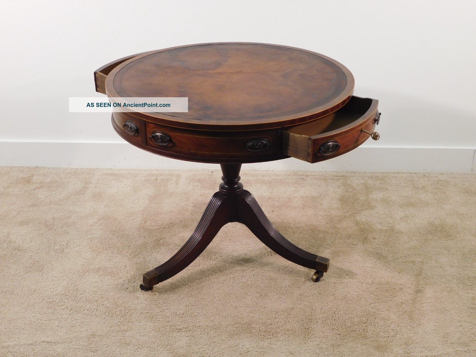 Baker Furniture Company Leather Top Rotating Drum Table W Two Locking Drawers Post-1950 photo