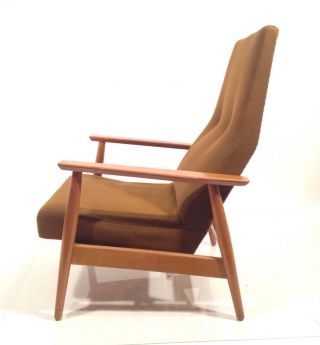 Vintage Danish Modern Mid Century Recliner Lounge Norway High Back Club Chair photo