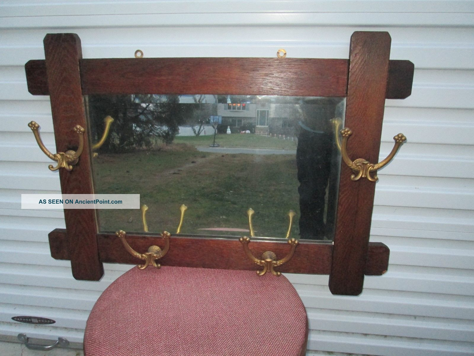 Antique Mission Style Oak Wall Mirror W/ 4 Double Brass Hooks Coat / Hat Rack Mirrors photo