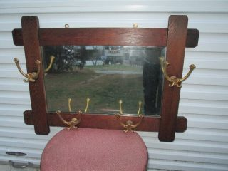 Antique Mission Style Oak Wall Mirror W/ 4 Double Brass Hooks Coat / Hat Rack photo