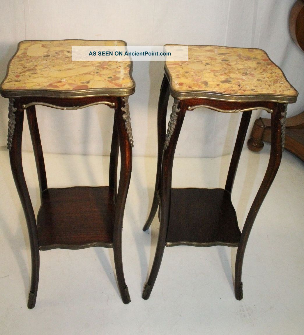 Gorgeous French Stayl Mahogany Dark Walnut American Made Marble Top Side Tables 1900-1950 photo