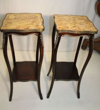 Gorgeous French Stayl Mahogany Dark Walnut American Made Marble Top Side Tables photo