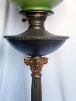 Antique Brass Kerosene Lamp,  Hand - Painted Glass Shade,  1880 - 1910,  Column Form photo