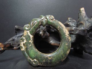Old Chinese Neolithic Hongshan Jade Hand Carved Amulet Pendant photo