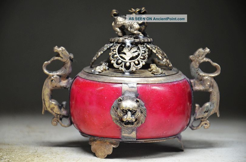 Delicate Chinese Silver Inlaid Jade Handwork Carved Lion Incense Burner Incense Burners photo