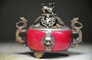 Delicate Chinese Silver Inlaid Jade Handwork Carved Lion Incense Burner photo