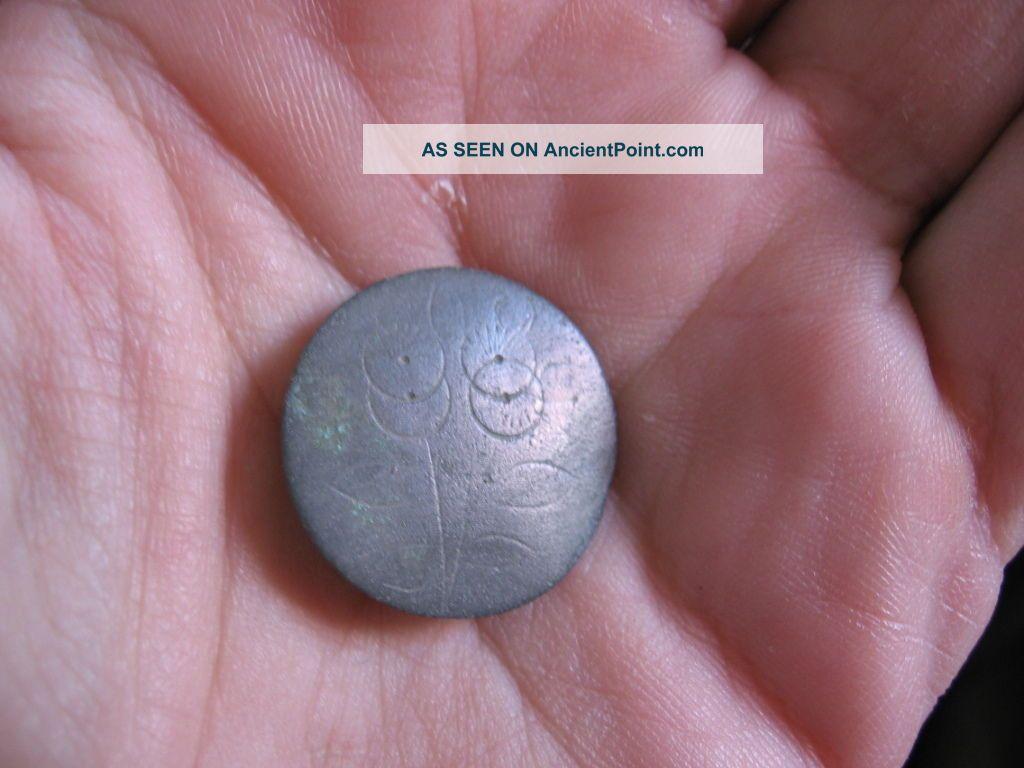 Ancient Celtic Bronze Button With Flower Decoration 600 - 400 Bc.  Very Rare Celtic photo