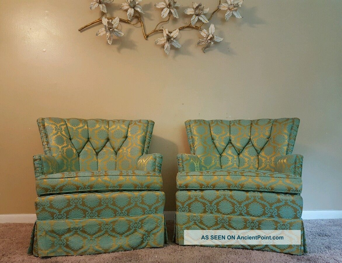 Mid Century Hollywood Regency Tuft Club Lounge Chairs Gold Milo Baughman Hickory Post-1950 photo