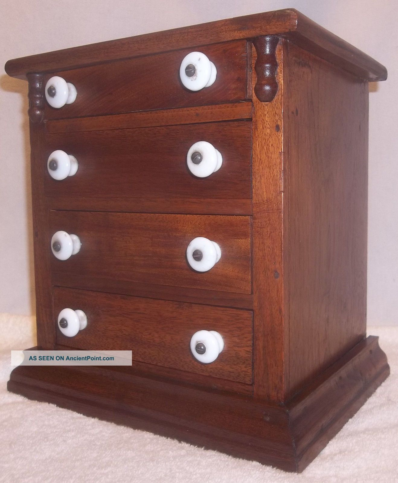 Antique Pennsylvania Miniature Walnut Empire Style Chest Of Drawers Dresser Xlnt 1800-1899 photo
