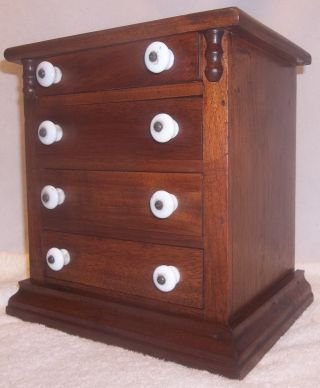 Antique Pennsylvania Miniature Walnut Empire Style Chest Of Drawers Dresser Xlnt photo