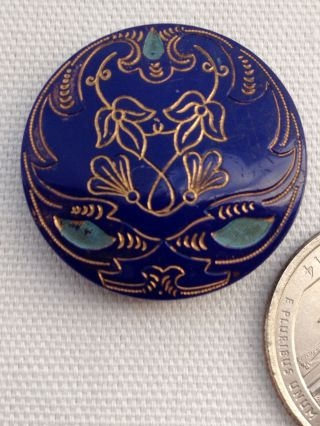 Antq Victorian Button Gold Incised Cobalt Glass 4 - Way Hump Shank 1 1/16