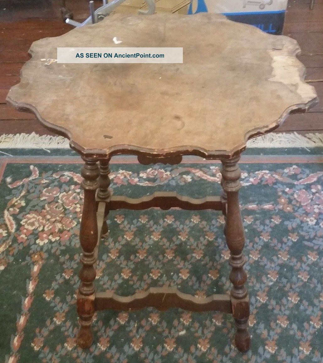 Antique Hannahs Furniture Solid Mahogany Parlor Lamp Table Needs Top Restored 1900-1950 photo