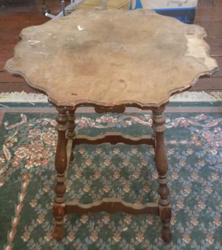 Antique Hannahs Furniture Solid Mahogany Parlor Lamp Table Needs Top Restored photo