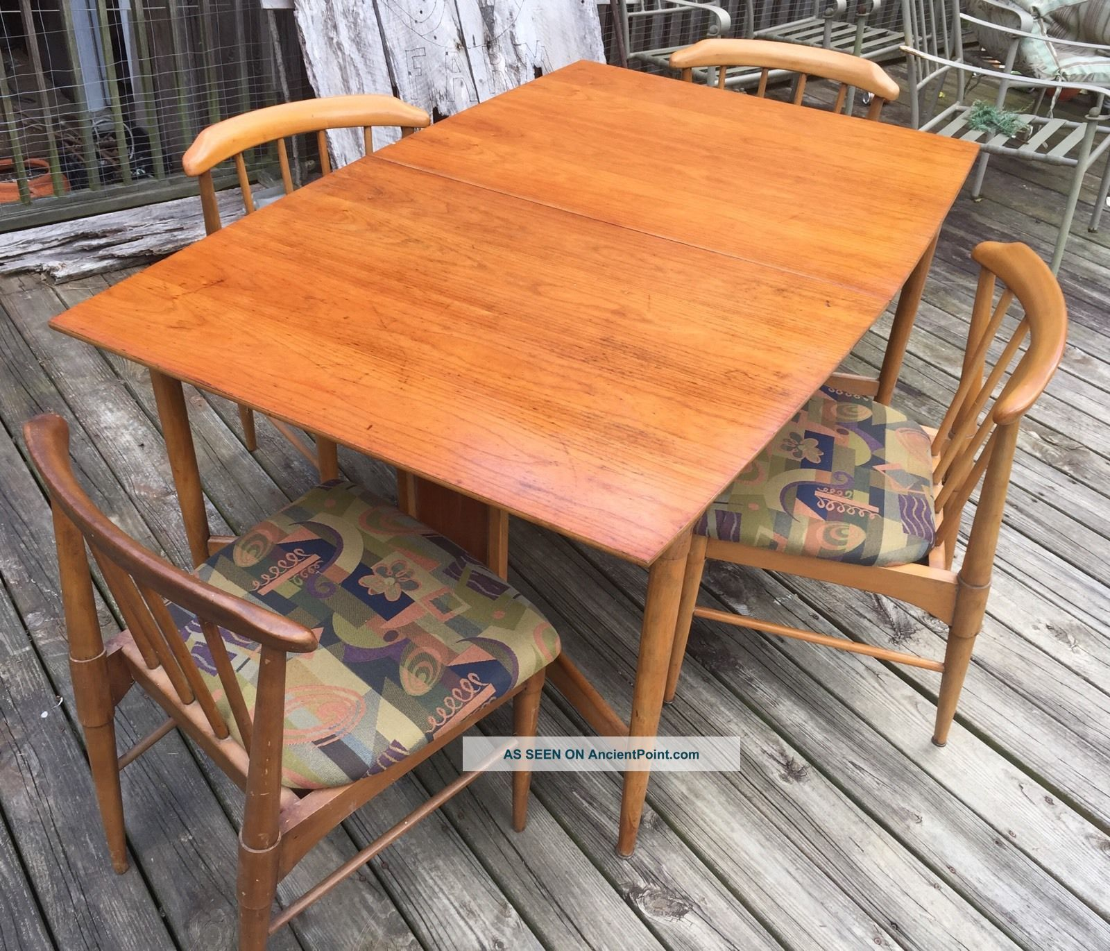 Vintage/retro Mid Century Modern 1960 ' S Dining Table W/ 4 Chairs Post-1950 photo