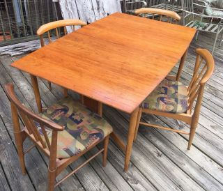 Vintage/retro Mid Century Modern 1960 ' S Dining Table W/ 4 Chairs photo