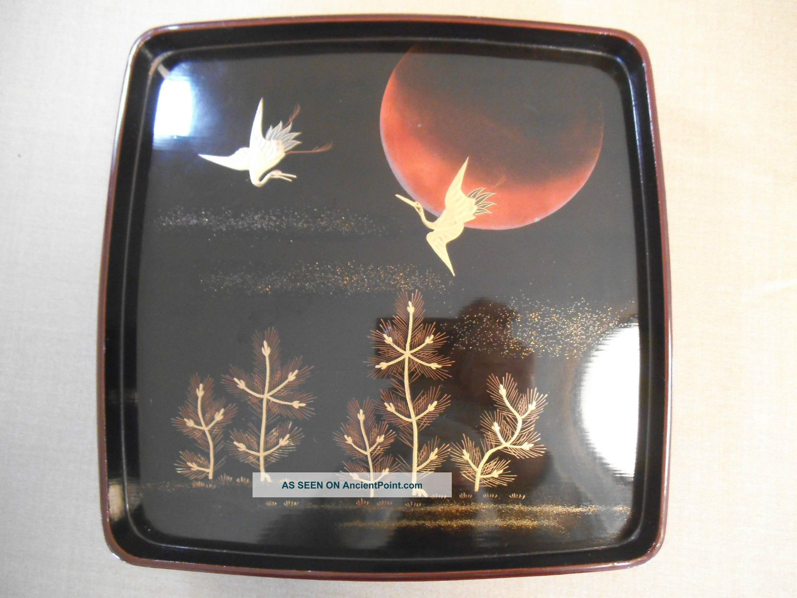 Japanese Wooden Lacquer Plate,  Moon & Cranes Plates photo