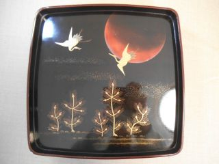 Japanese Wooden Lacquer Plate,  Moon & Cranes photo