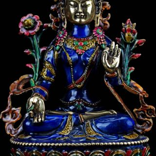 Collectable Brass Cloisonne Hand Carved A Buddism Godness Guanyin Statue photo
