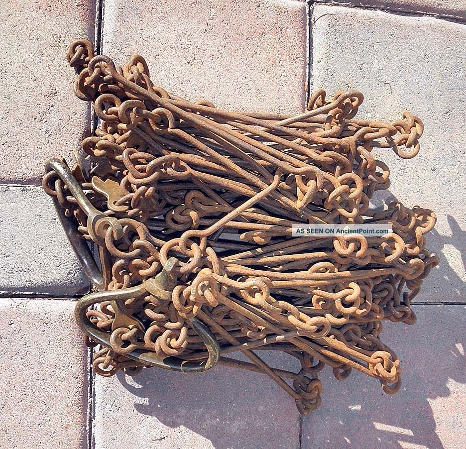 Desirable 66 Foot Steel Land Surveyor Chain Marked 4p By Chesterman,  Circa 1880 Engineering photo
