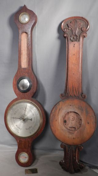 2 Victorian Edwardian Banjo Barometers Bullseye Mirror Carved Oak Parts photo