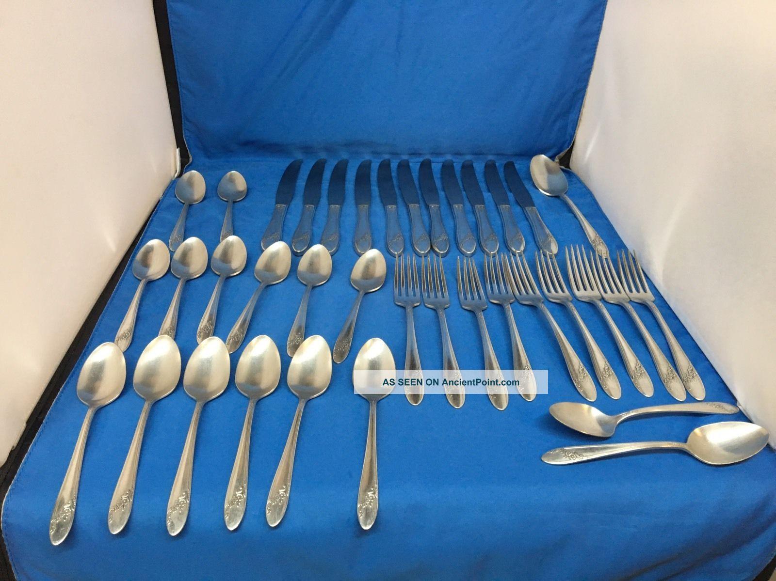 37 Vintage Tudor Plate - Oneida Community - Queen Bess - Silverplate - Silverware Flatware & Silverware photo