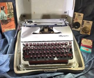 Vintage 1956 Art - Deco Olympia Sm - 3 Portable Typewriter & Case Germany photo