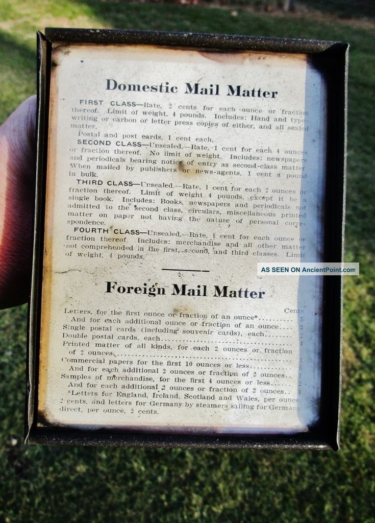 C.  1912 Antique Post Office Mail Stamp Postal Sign - To Germany Via Steamer Ship Scales photo