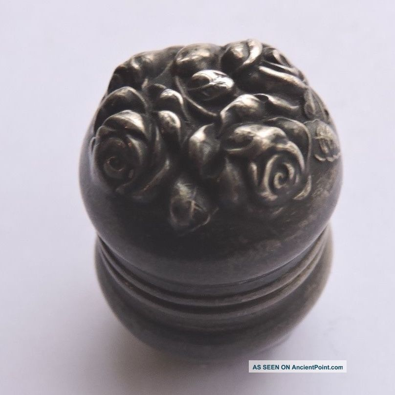 47.  Rose Repousse Sterling Thimble Case Unger Brothers For Chatelaine Victorian Thimbles photo
