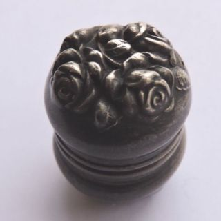 47.  Rose Repousse Sterling Thimble Case Unger Brothers For Chatelaine Victorian photo
