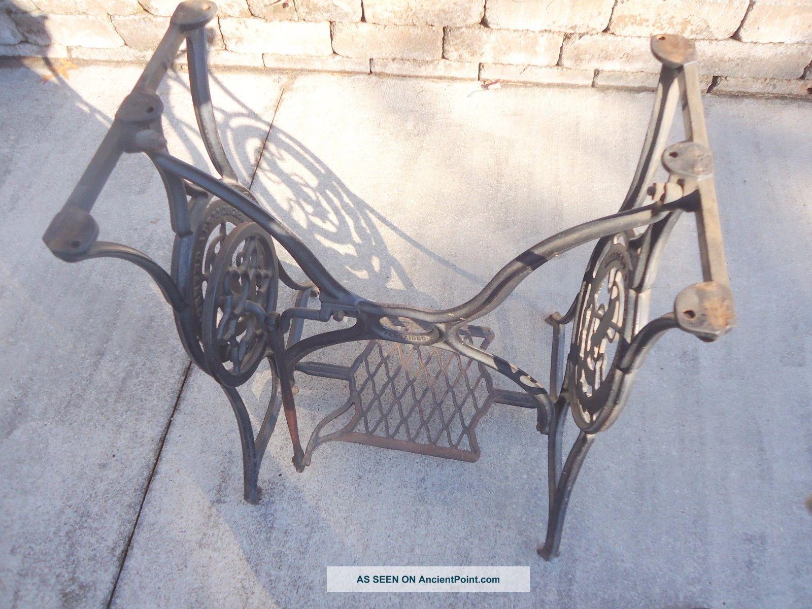 Antique Cast Iron Singer Treadle Sewing Machine Base 1880 Sewing Machines photo