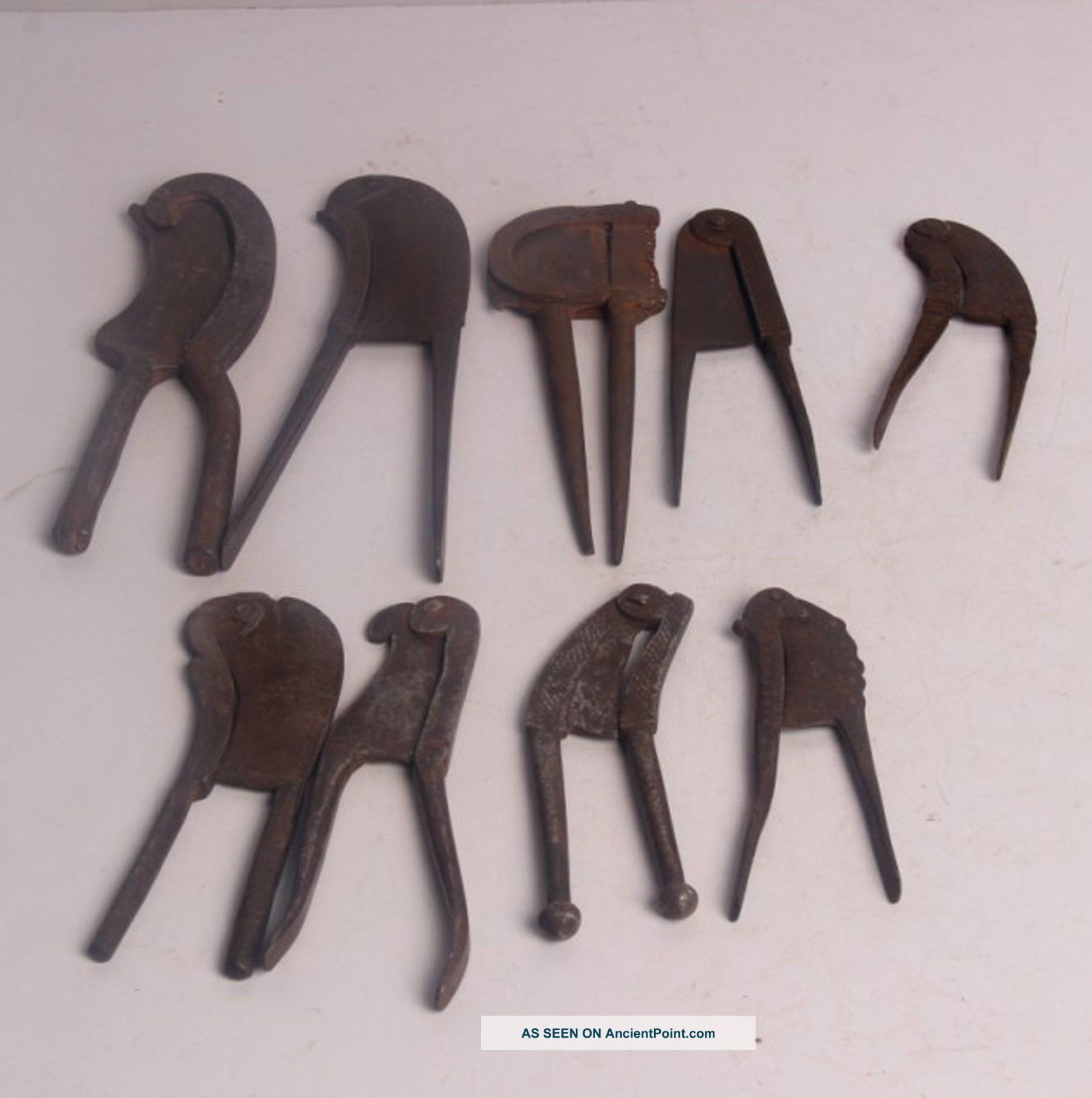 10 Pc Old Iron 1930 ' S Handcrafted Different Betel Nut Cutter/sarota,  Rich Patina India photo