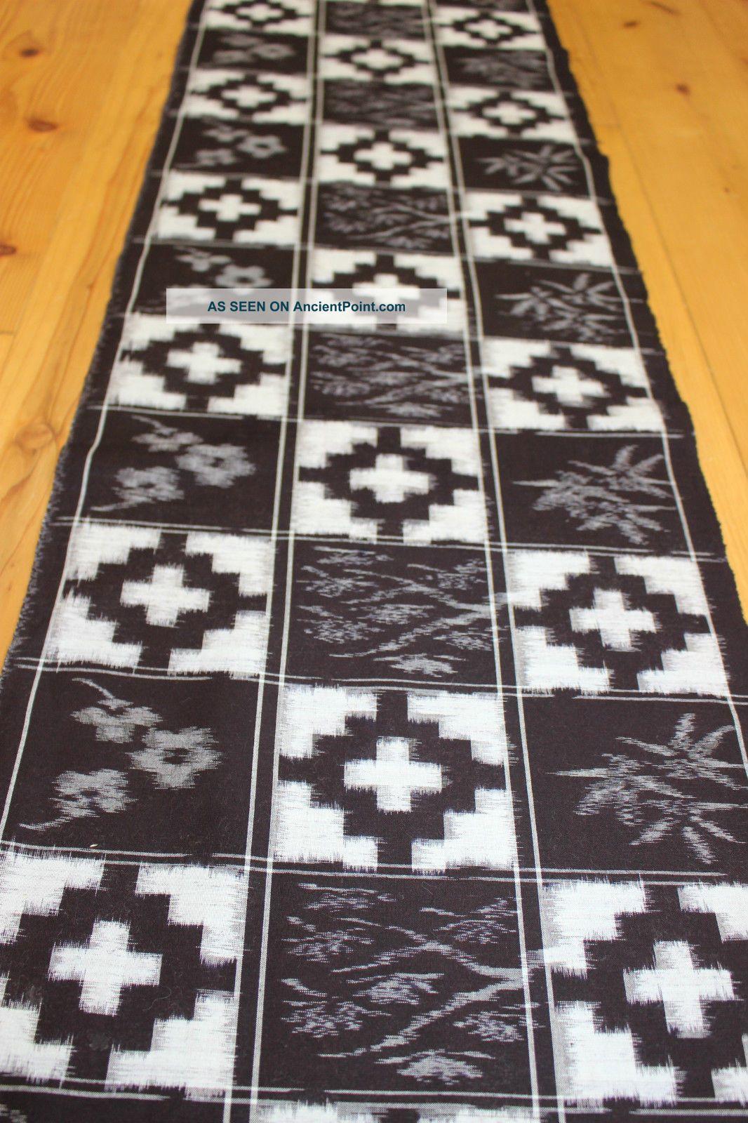 Vintage Japanese Indigo Leafy Checkered Kasuri Kimono Fabric Patchwork 58