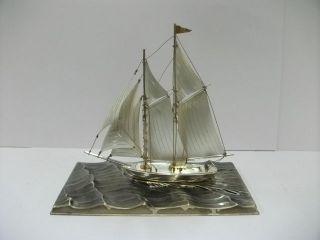 The Sailboat Of Silver960 Of Japan.  2masts.  121g/ 4.  26oz.  Takehiko ' S Work. photo
