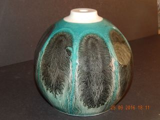 Teal Studio Pottery Lamp Base With Black Feather Design Kp England Backstamp photo