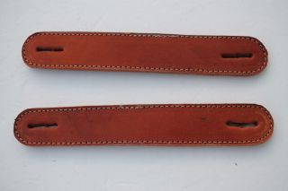 Vintage Steamer Trunk Handle Straps 2 Brown Tan Leather Trim Parts 7.  5
