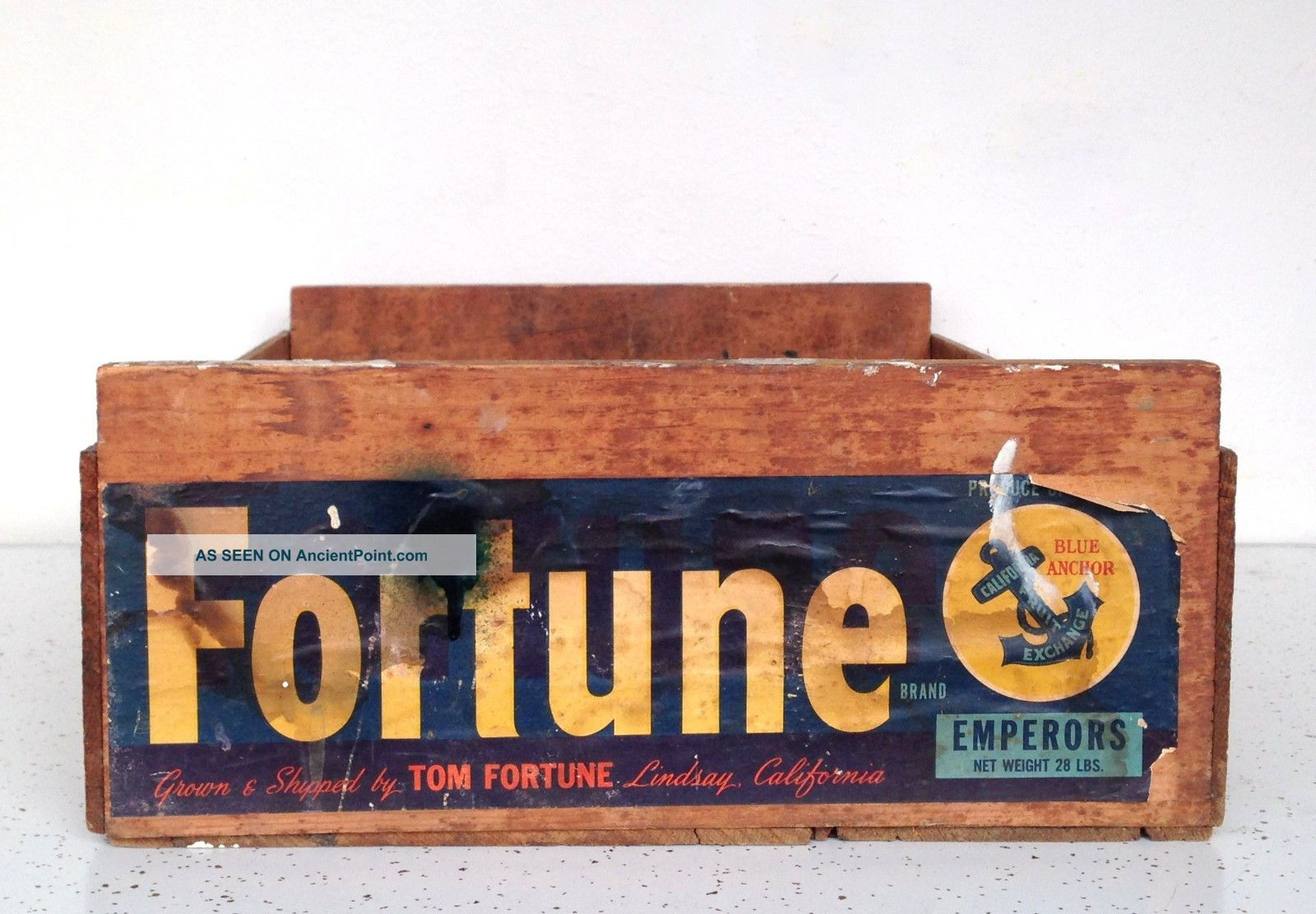 Vintage Wooden Crate Carton Trug Box Cottage Rustic Fruit California Fortune Usa 1900-1950 photo