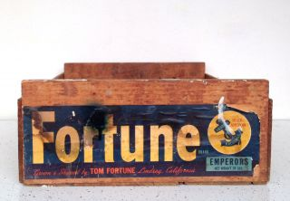Vintage Wooden Crate Carton Trug Box Cottage Rustic Fruit California Fortune Usa photo