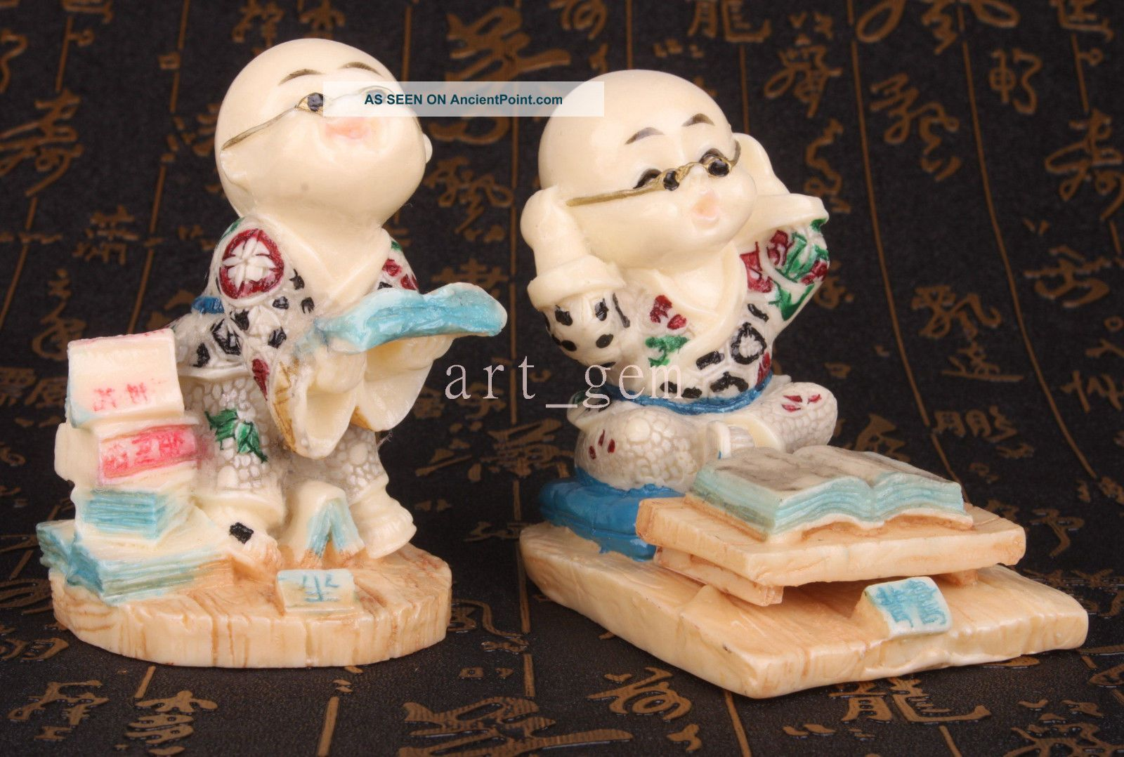 Lively Design Resin Sculpture Reading The Young Monk Statue Figurine Gifts Colle Other Antique Chinese Statues photo