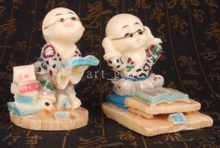 Lively Design Resin Sculpture Reading The Young Monk Statue Figurine Gifts Colle photo