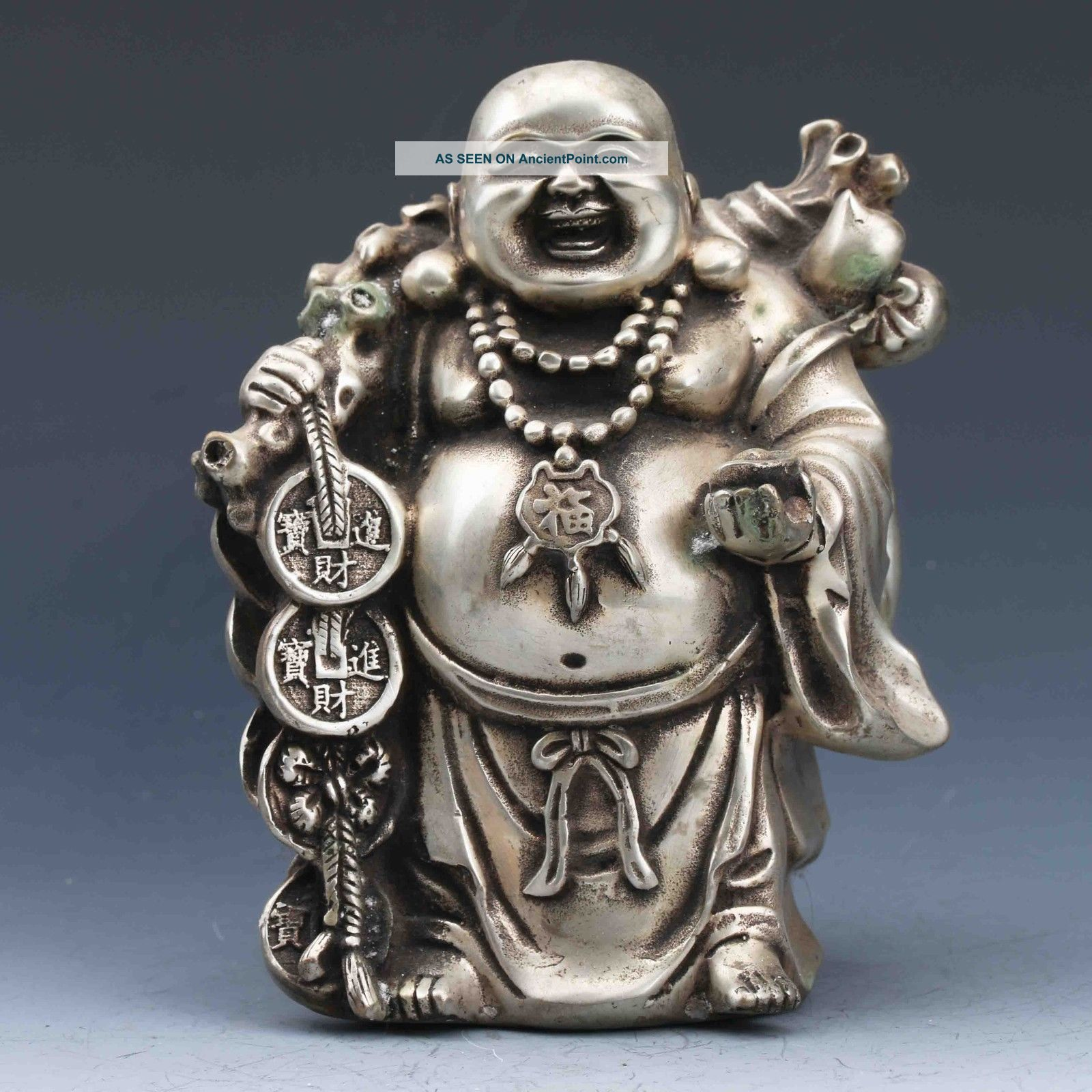 Chinese Silver Copper Handwork Carved Maitreya Buddha Statues Buddha photo