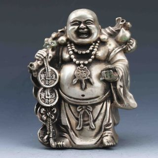 Chinese Silver Copper Handwork Carved Maitreya Buddha Statues photo