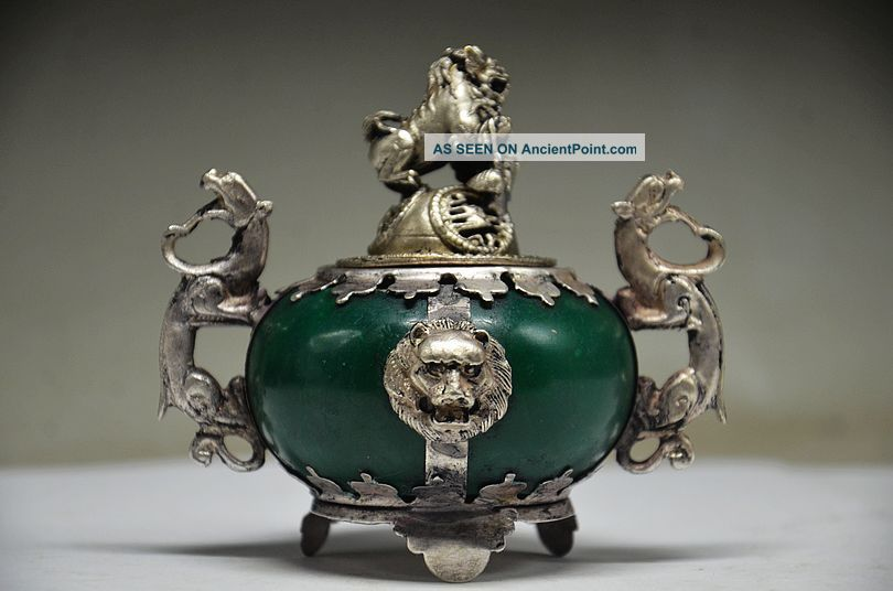 Exquisite Chinese Silver Dragon Inlaid Jade Handmade Carved Lion Incense Burner Incense Burners photo