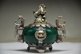 Exquisite Chinese Silver Dragon Inlaid Jade Handmade Carved Lion Incense Burner photo