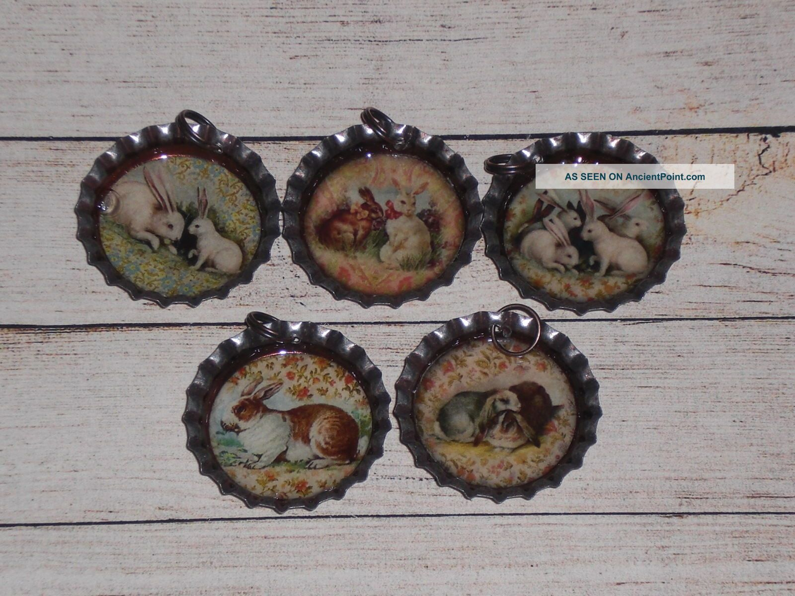 5 Primitive Folk Art Easter Bunny Rabbit Bronze Bottle Cap Charms Tree Ornaments Primitives photo