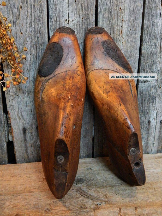 19th C Early Antique Primitive Old Wood Shoe Forms Display Aafa W/ Rare Repairs Primitives photo